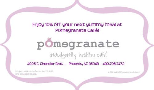 10% off at Pomegranate Café in Phoenix, Arizona