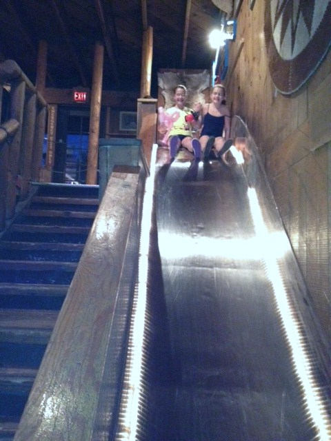 The super fun slide that runs down the middle of the restaurant and close to the country music stage is great fun for the kids!
