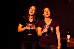 Me and Liz when we sang a funny song for our girls' childrens theater fundraiser!