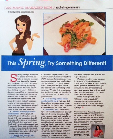My Latest Article On Things: Spring Into Spring, Try Something New: My March 202 Mag