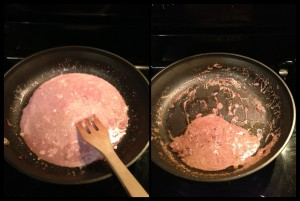 This picture shows how it how much it will reduce and caramelize by the time it is done.  My sauce is pink because I used the red wine that I had on wine.  Very tasty sauce.