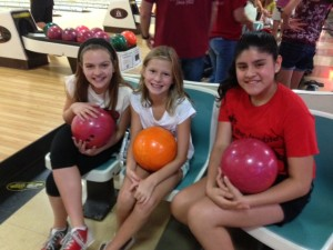 With show choir members at her theatre's Bowlathon fundraiser last weekend.
