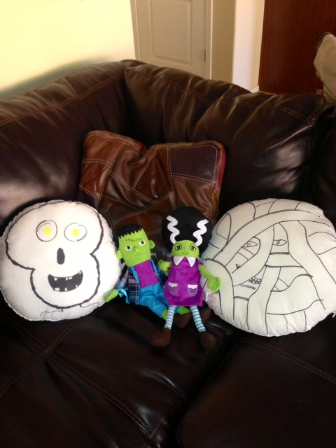 I love how she used a Sharpie to draw on the pillows that we bought from the sewing store.