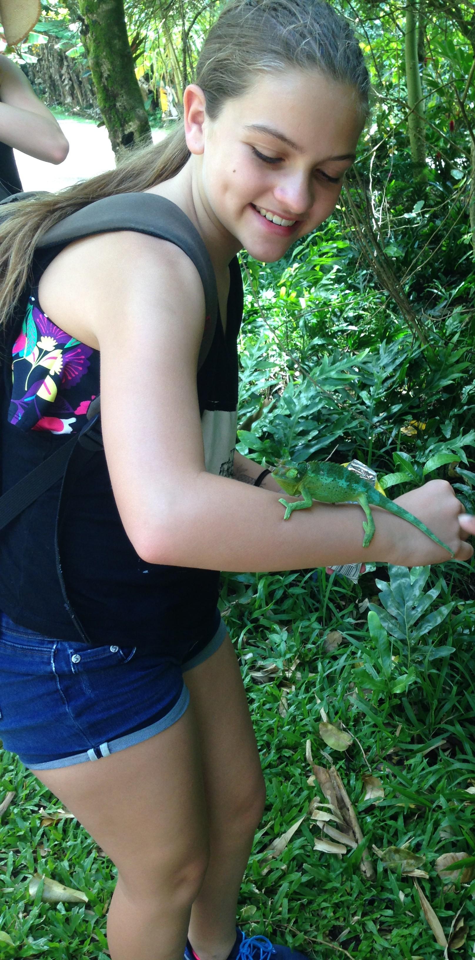 Lexi holding chamelon