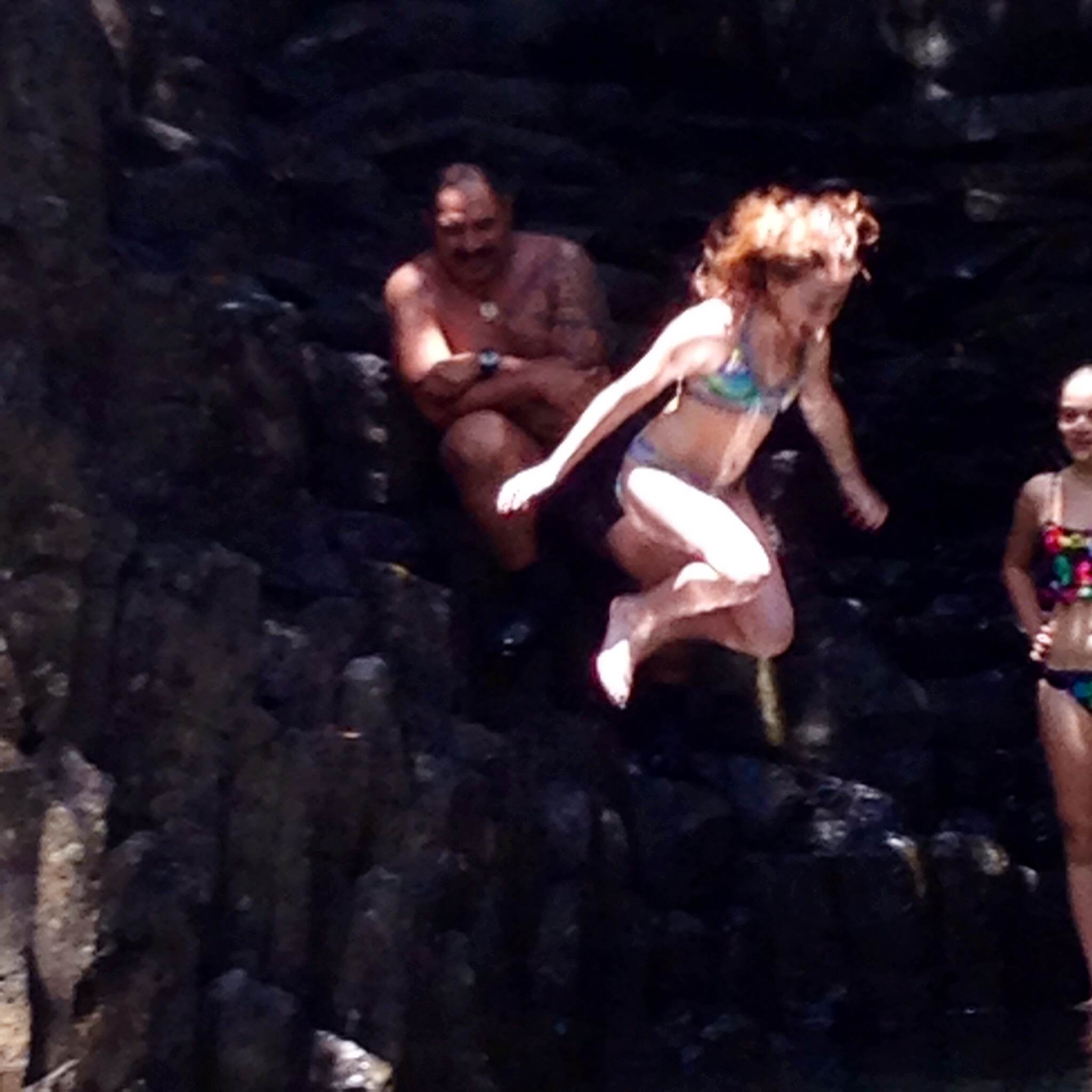 Meg jumps off Maui cliff