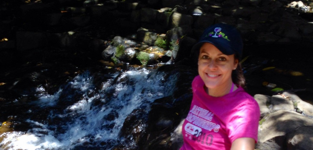 me by Maui waterfall