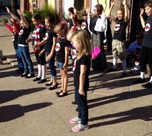 ACT's youngest children's choir, All Keyed Up also performed at the store event.