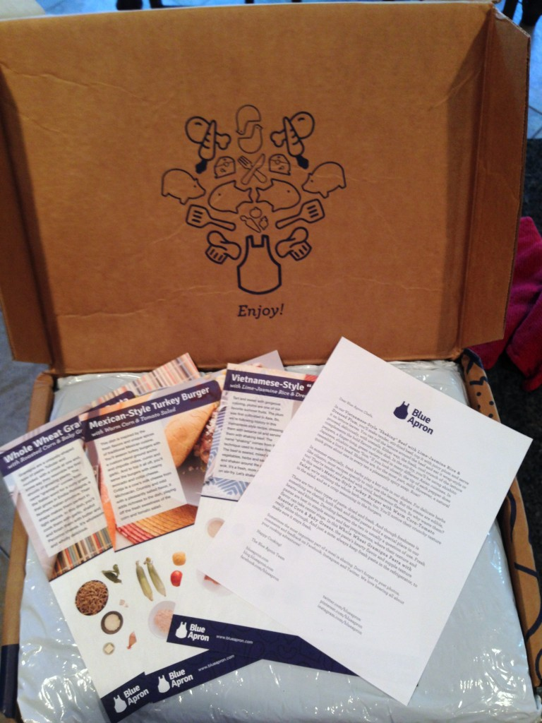 Box arrives with letter containing tidbits about this week's recipes and three easy to follow recipe cards with pictures.