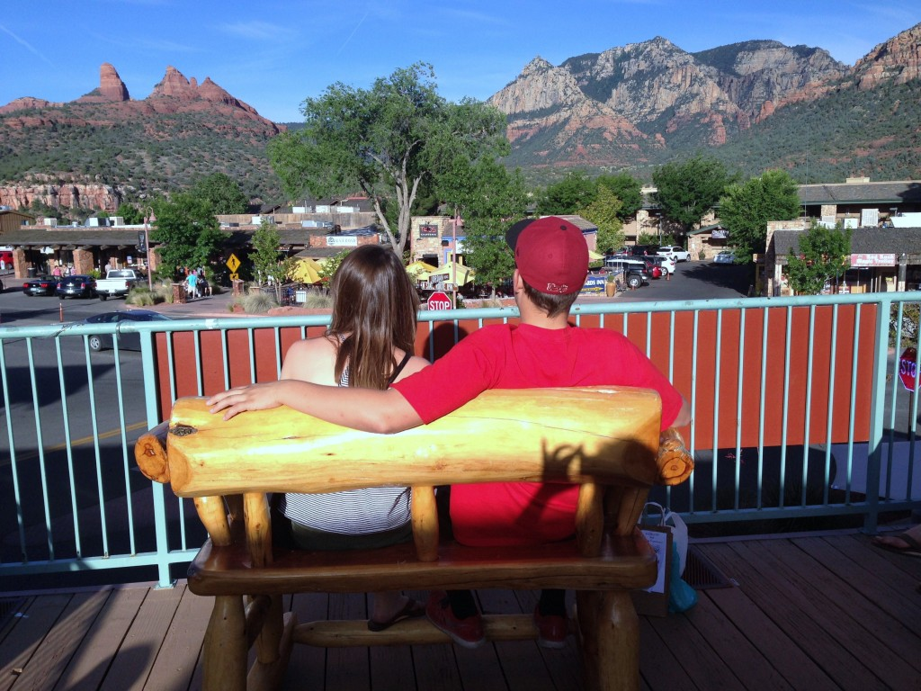 Looking out over downtown Sedona to surrounding radiant red rocks that surround this wonderful and welcoming town.