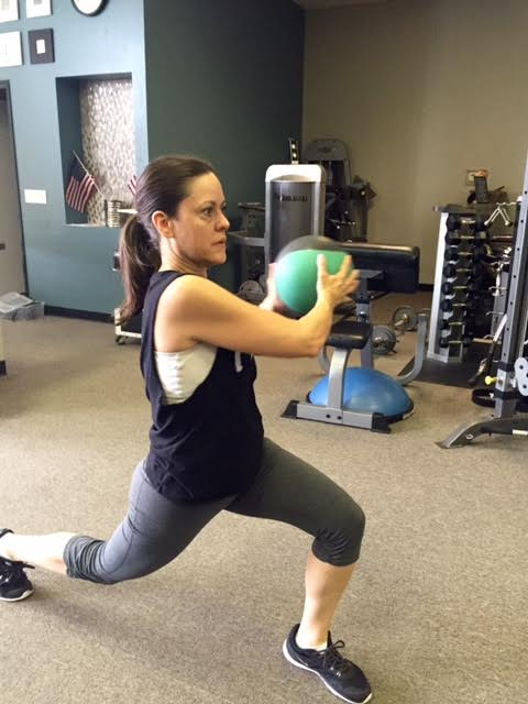 Here Carlos has me work my legs with lunges across the floor and with the medicine ball to tone my arms, too. Those arms get tougher the older we get so this is terrific.